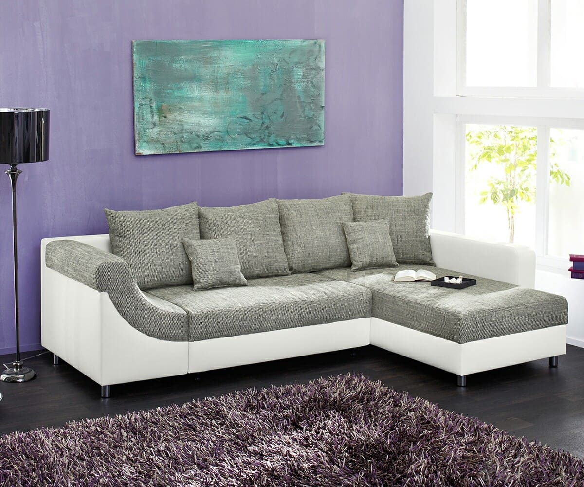 sofa malin grau weiss napalon leder couch mit schlaffunktion ebay. Black Bedroom Furniture Sets. Home Design Ideas