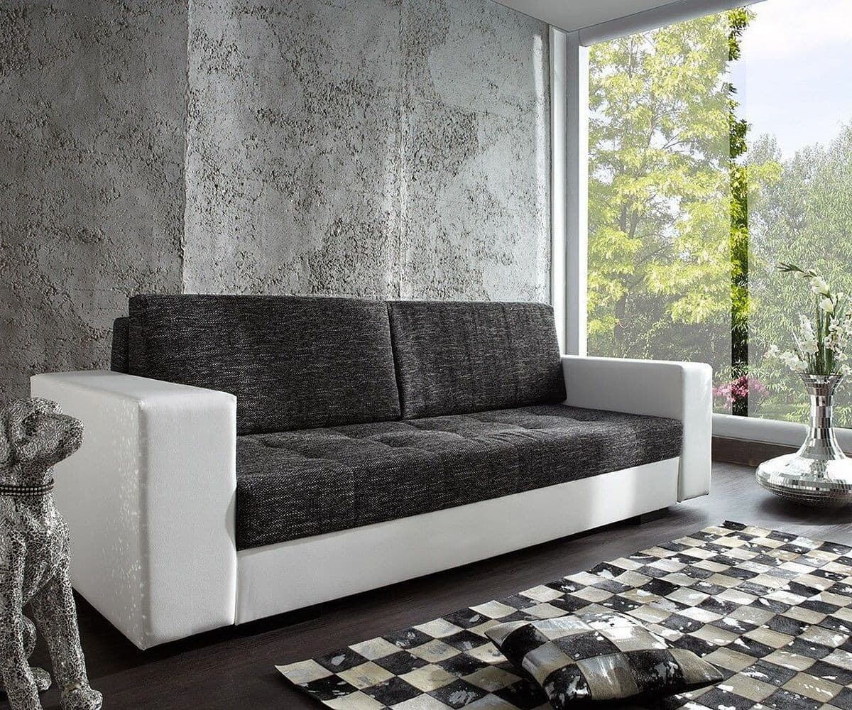 schlafsofa giorgio 250x100 weiss schwarz mit bettkasten. Black Bedroom Furniture Sets. Home Design Ideas