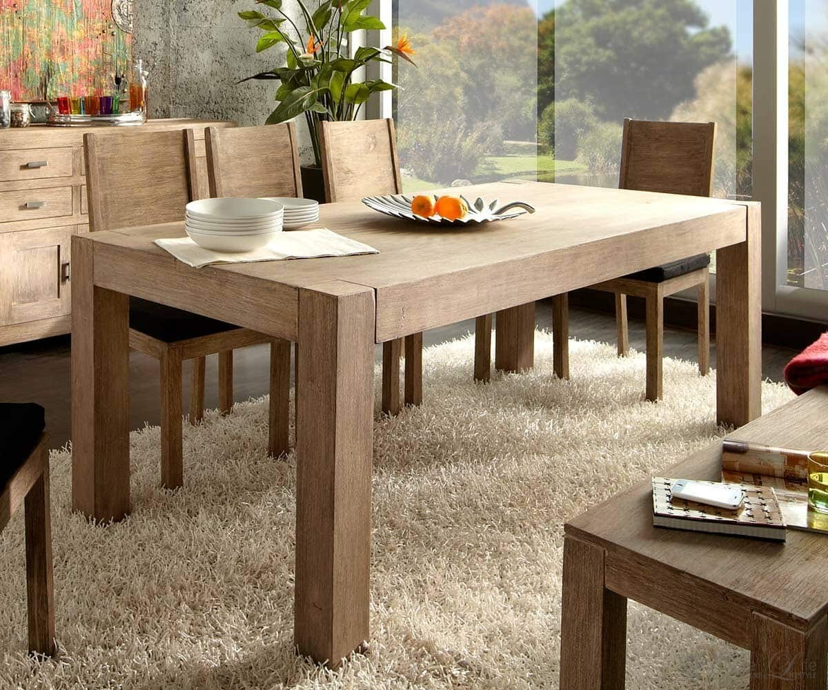 guru holztisch big akazie sand 160x100 massivholz esstisch by wolf m bel ebay. Black Bedroom Furniture Sets. Home Design Ideas