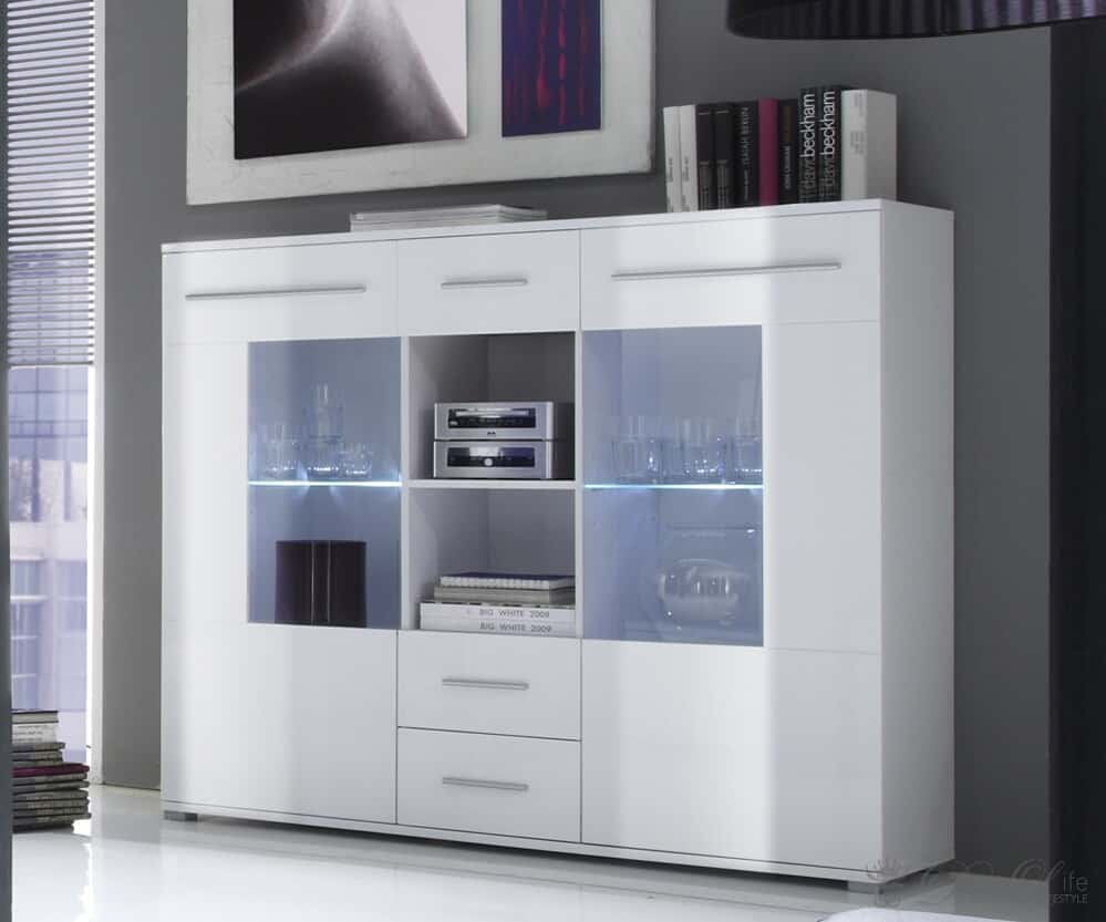 highboard malibu 137x121cm weiss hochglanz kommode mit led beleuchtung. Black Bedroom Furniture Sets. Home Design Ideas