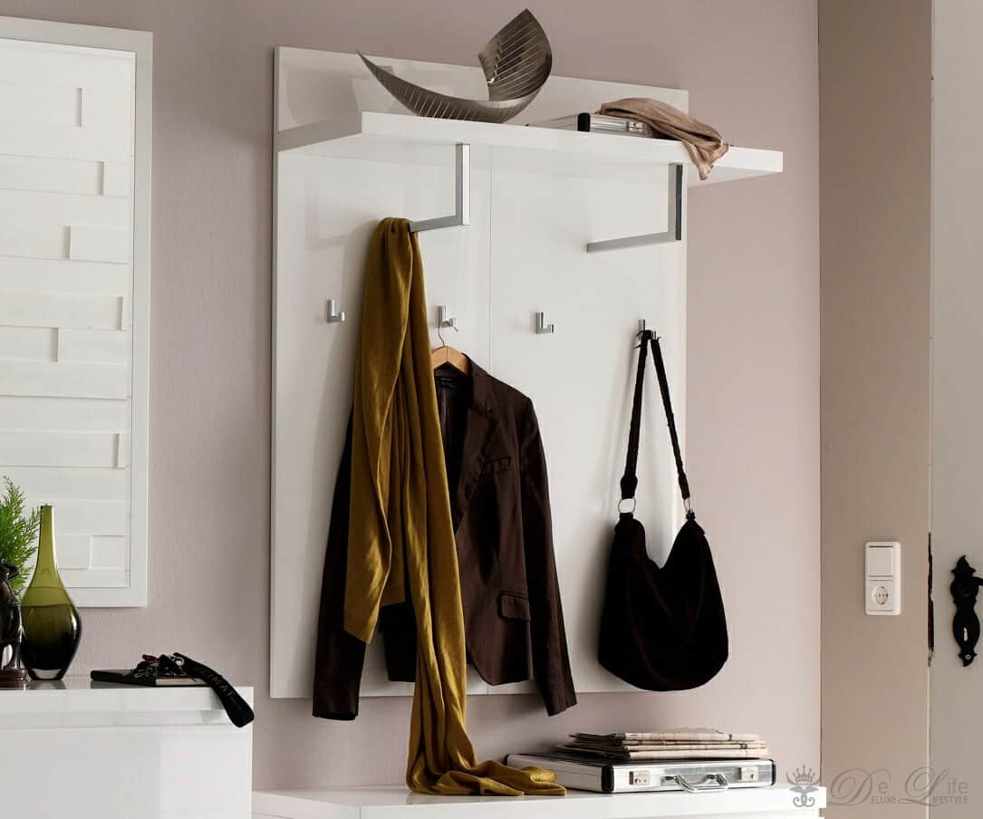 garderobe lucido 102x121 cm weiss hochglanz wandpaneel mit haken ebay. Black Bedroom Furniture Sets. Home Design Ideas