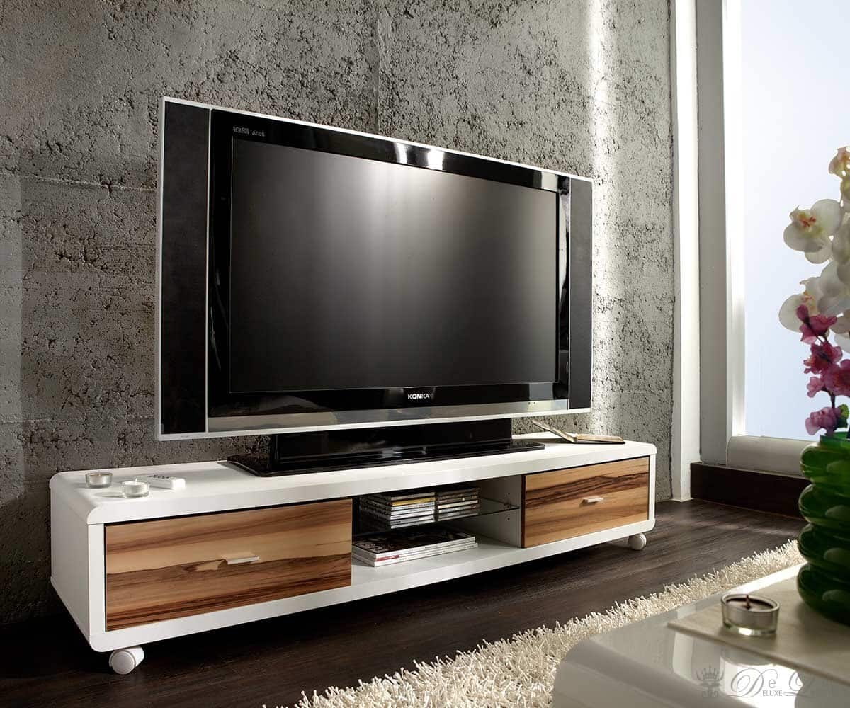 lowboard paco 150x30 weiss baltimore walnut tv m bel 2 schubk sten ebay. Black Bedroom Furniture Sets. Home Design Ideas