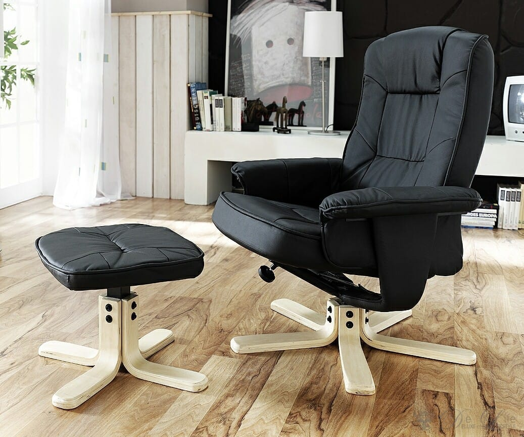 relaxsessel collin schwarz gestell holz drehbar sessel mit hocker chefsessel ebay. Black Bedroom Furniture Sets. Home Design Ideas
