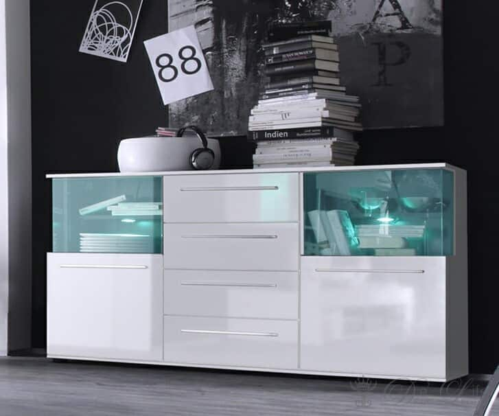 sideboard tokyo 144x82 cm weiss kommode 2 t ren mit beleuchtung ebay. Black Bedroom Furniture Sets. Home Design Ideas