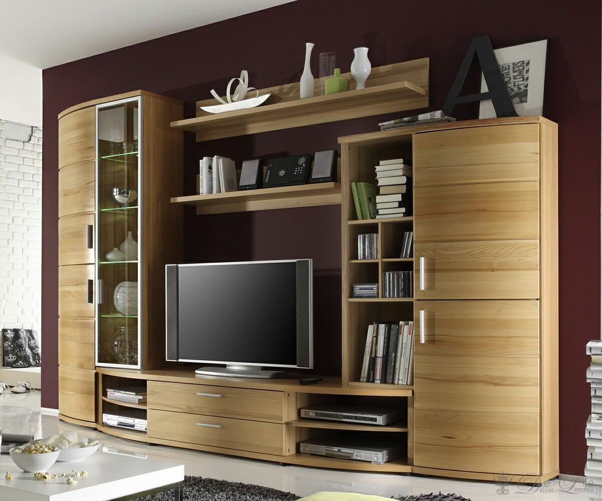 Wohnwand maroco 309x207 cm kernbuche wohnzimmerm bel mit for Wohnwand 250 cm