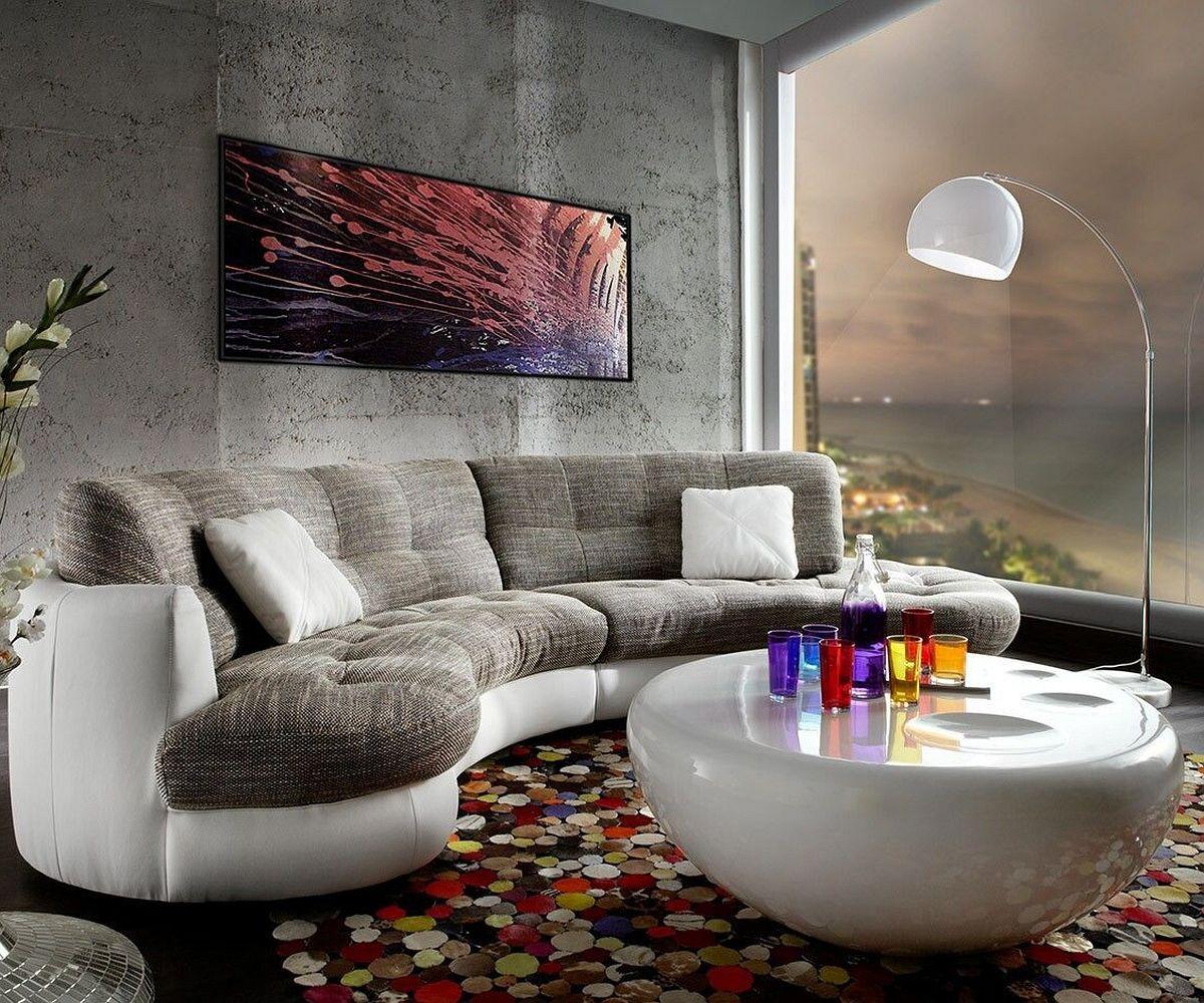 Sofa halbrund-geschwungen  Couch Napoli Hellgrau Weiss 300x95cm Rundsofa inkl. Kissen Sofa | eBay