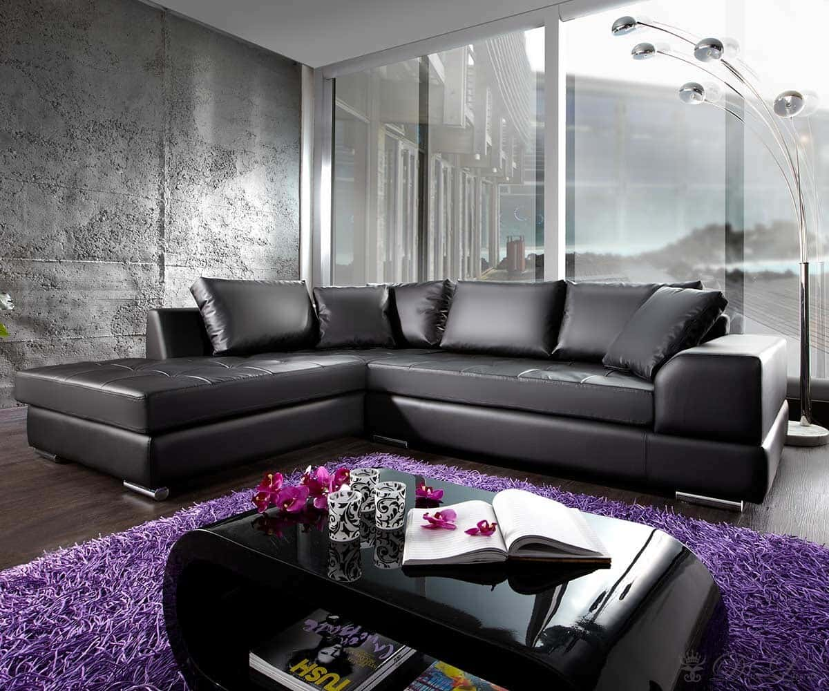ecksofa marry 280x200 cm schwarz sofa ottomane links ebay. Black Bedroom Furniture Sets. Home Design Ideas