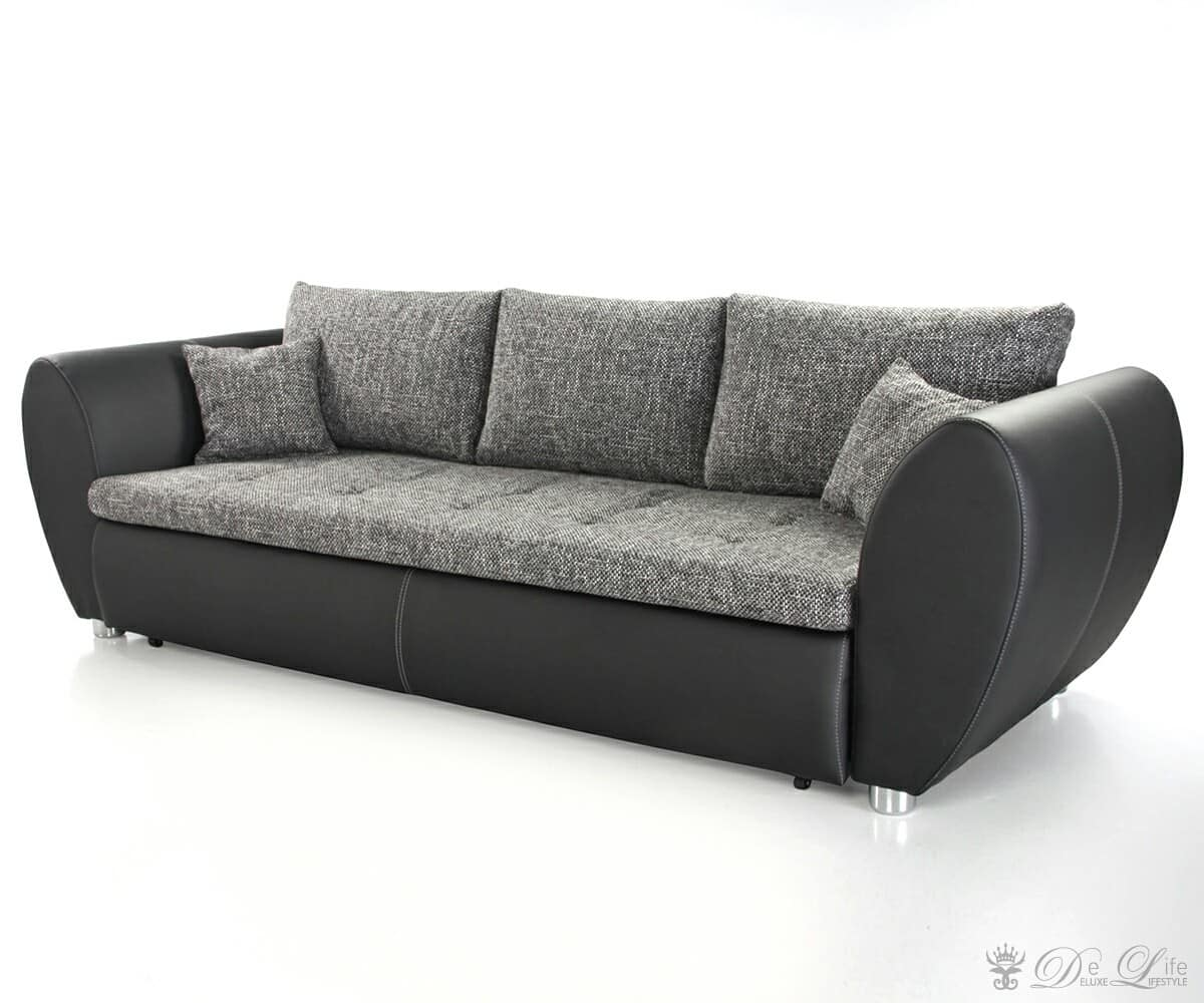 schlafsofa norella schwarz grau strukturstoff sofa mit schlaffunktion. Black Bedroom Furniture Sets. Home Design Ideas