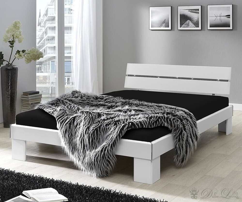 komplett bett dave 140x200 weiss strasssteine mit. Black Bedroom Furniture Sets. Home Design Ideas