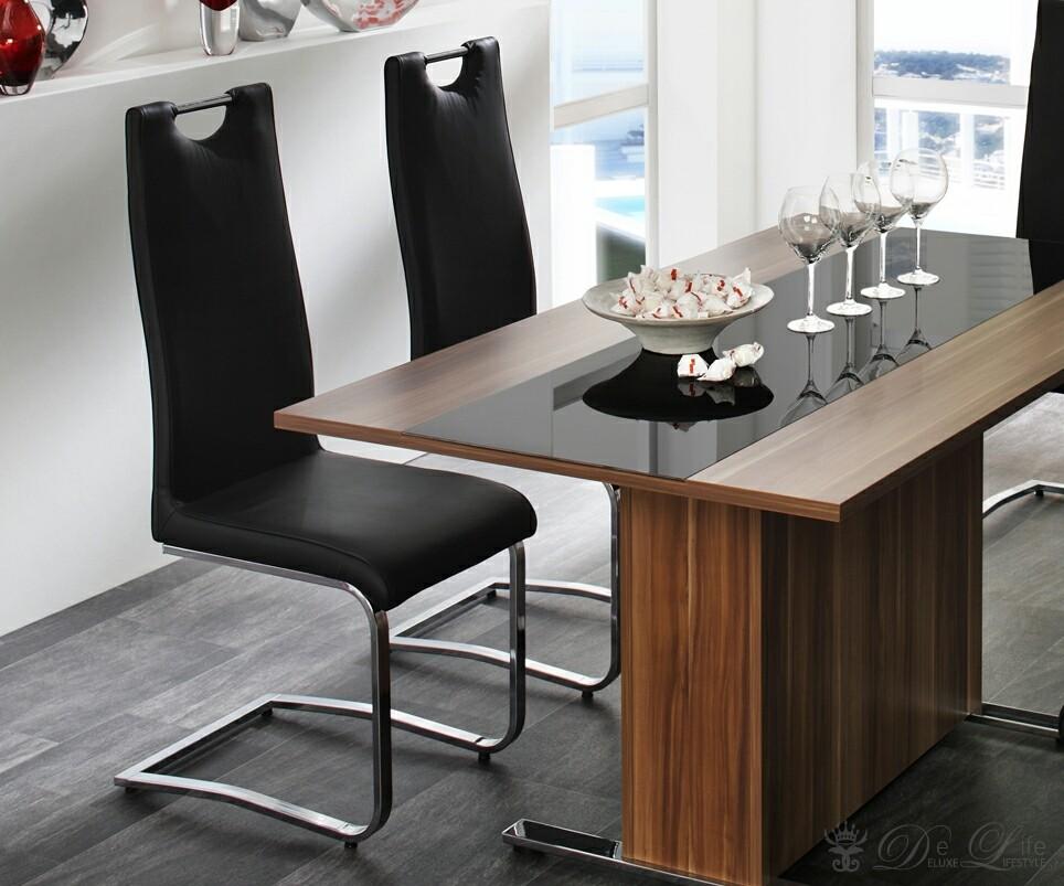 freischwinger lydia schwarz chrom esszimmerstuhl ebay. Black Bedroom Furniture Sets. Home Design Ideas