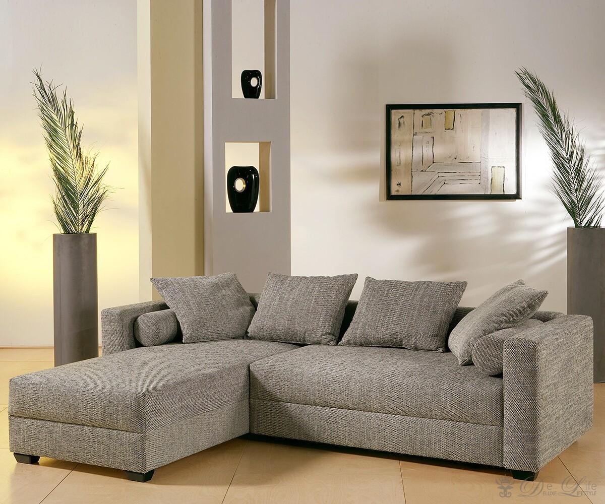sofa elena grau strukturstoff schlafsofa mit bettkasten. Black Bedroom Furniture Sets. Home Design Ideas
