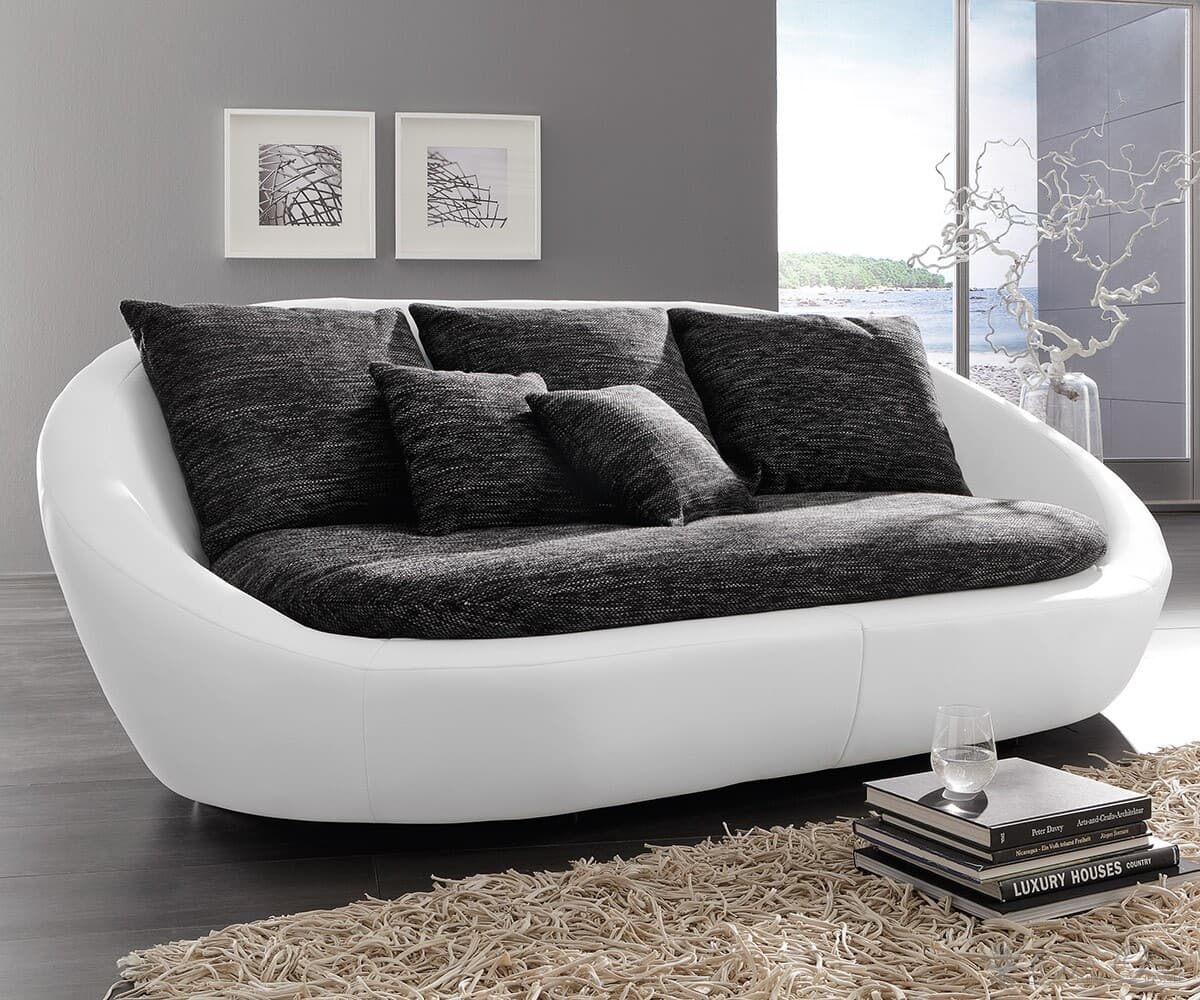 megasofa fidschi 340x130 weiss schwarz grau design sofa. Black Bedroom Furniture Sets. Home Design Ideas