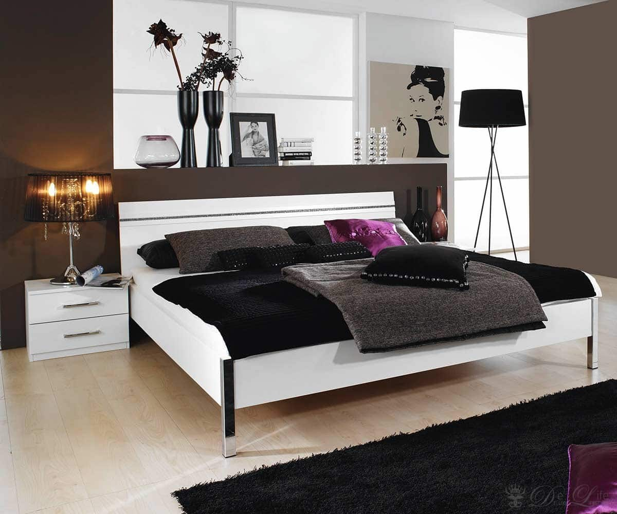 bett glitter 180x200 cm weiss design bett mit 2. Black Bedroom Furniture Sets. Home Design Ideas