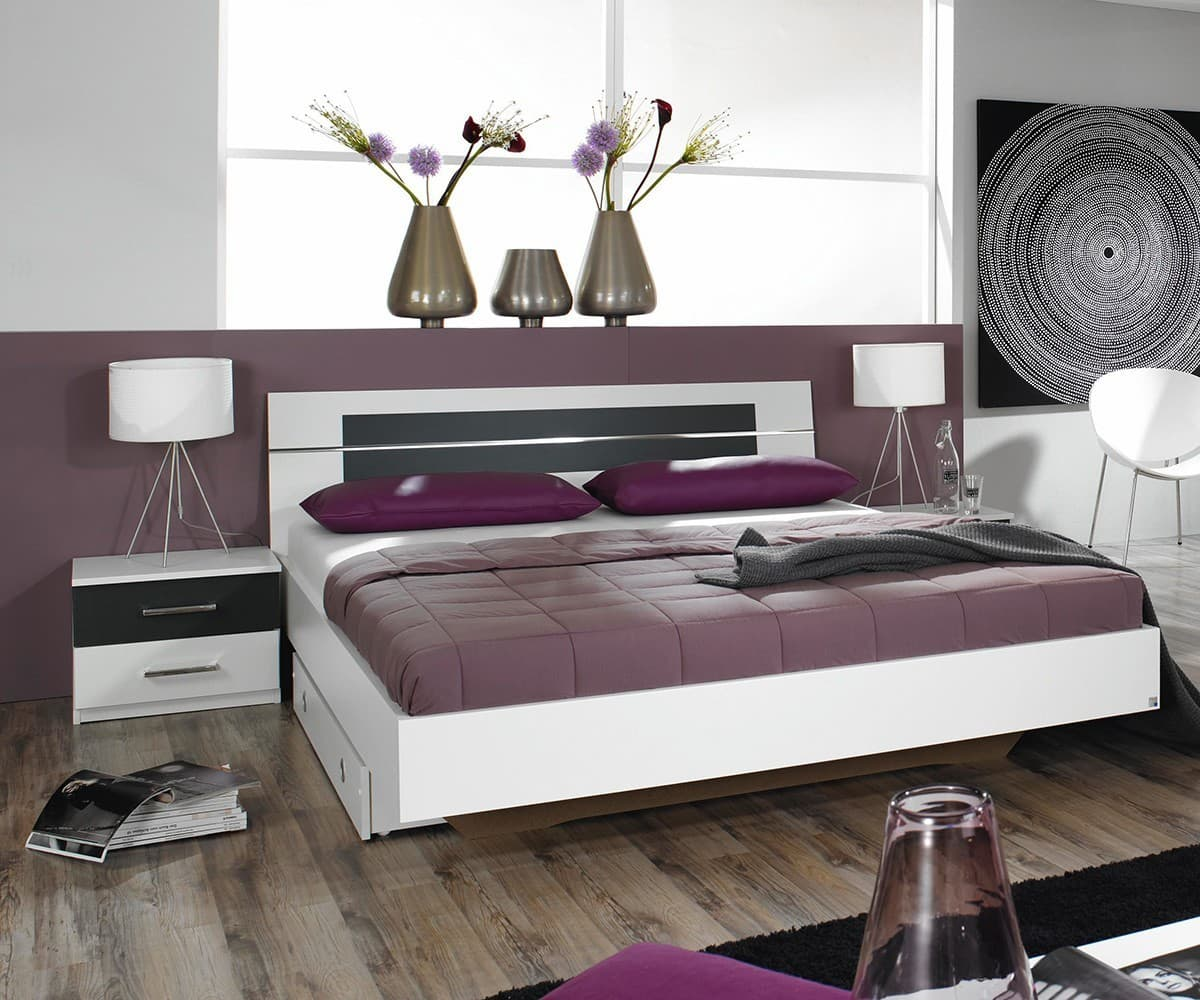 bett arwen 180x200 weiss grau inkl 2 nachtkonsolen doppelbett futonbett neu ebay. Black Bedroom Furniture Sets. Home Design Ideas