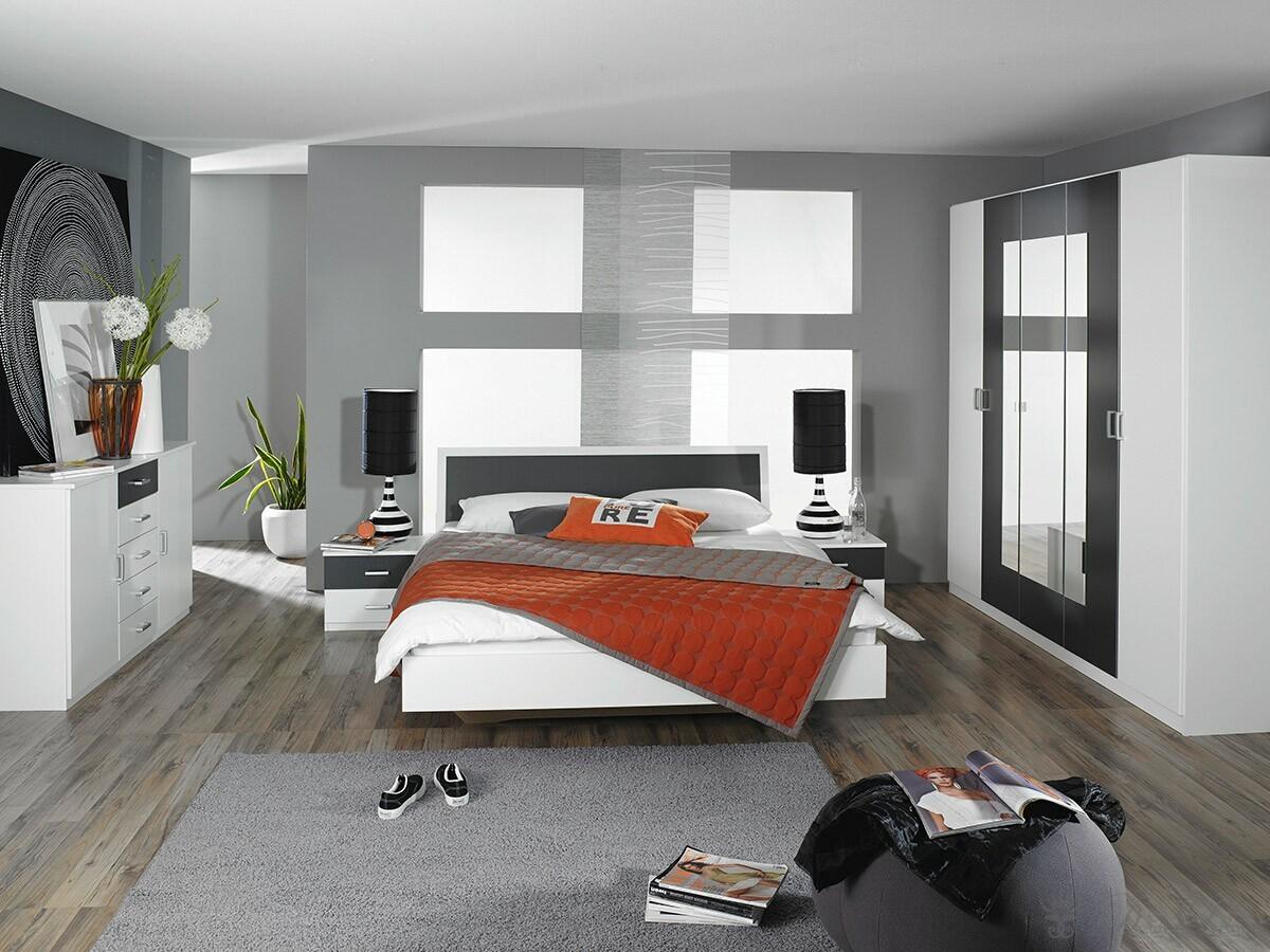 Komplett schlafzimmer tamia weiss grau schrank 2 nachtkonsolen bett ebay - Chambre adulte design moderne ...