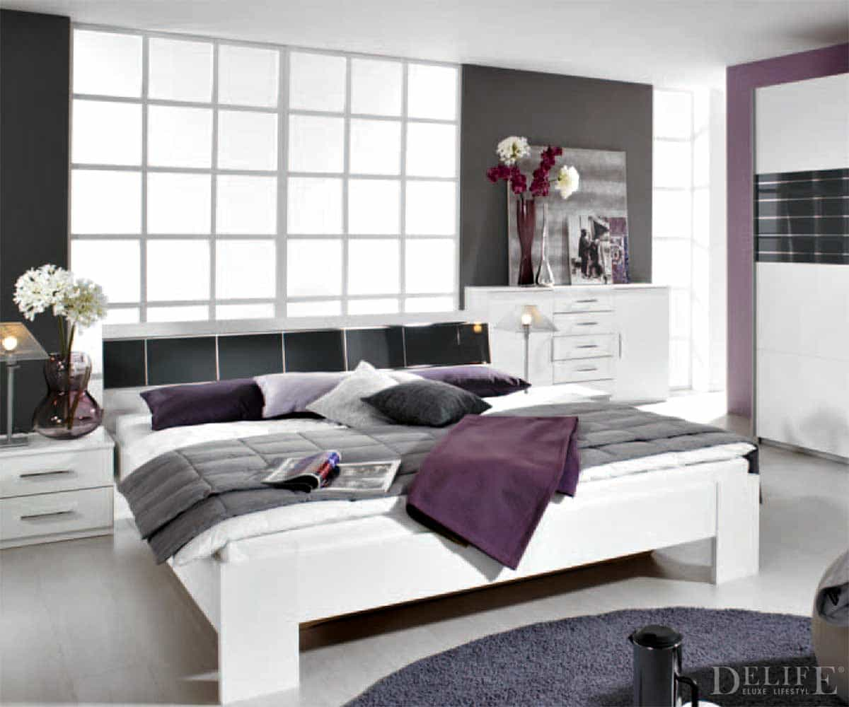 bett mandy 180x200 cm weiss schwarz inkl 2 nachtschr nke. Black Bedroom Furniture Sets. Home Design Ideas