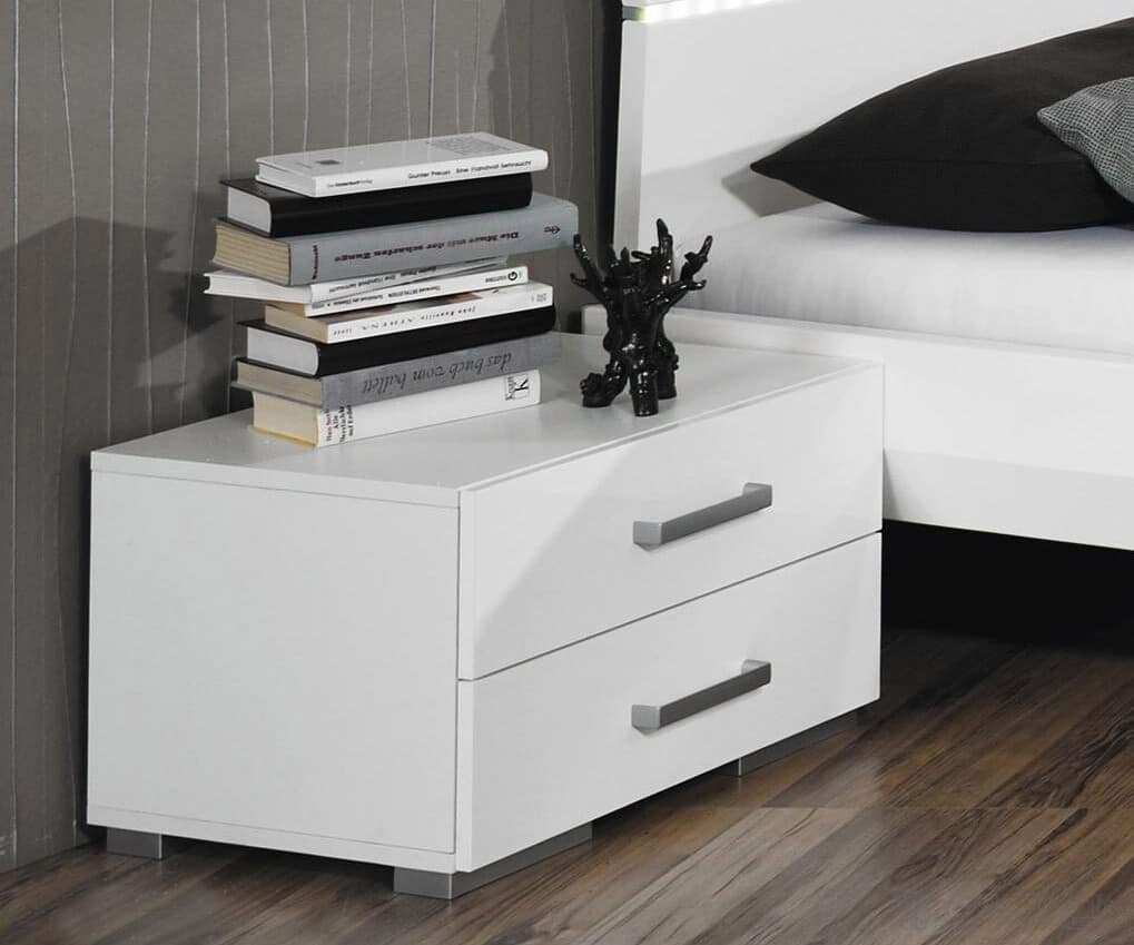 nachttisch miami hochglanz weiss 48x35 cm nachtschrank ebay. Black Bedroom Furniture Sets. Home Design Ideas