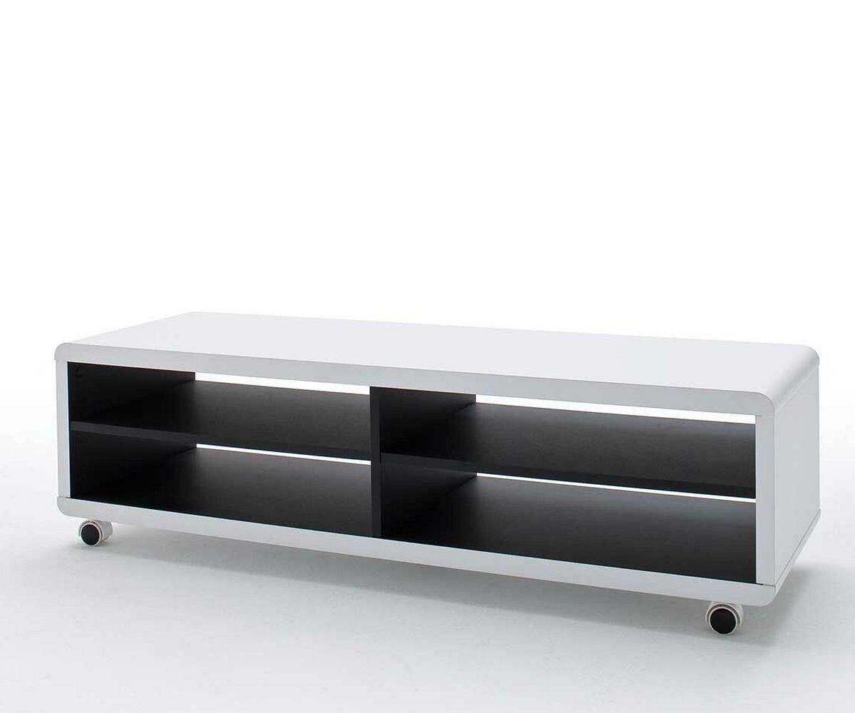 lowboard akira 120x40 cm weiss 4 f cher mit rollen m bel tische fernsehtische. Black Bedroom Furniture Sets. Home Design Ideas