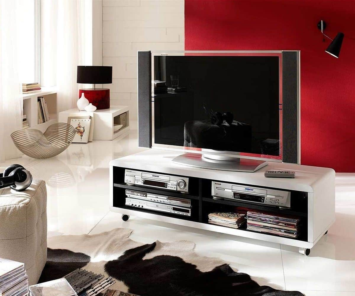 lowboard akira 120x40 cm weiss 4 f cher mit rollen m bel. Black Bedroom Furniture Sets. Home Design Ideas