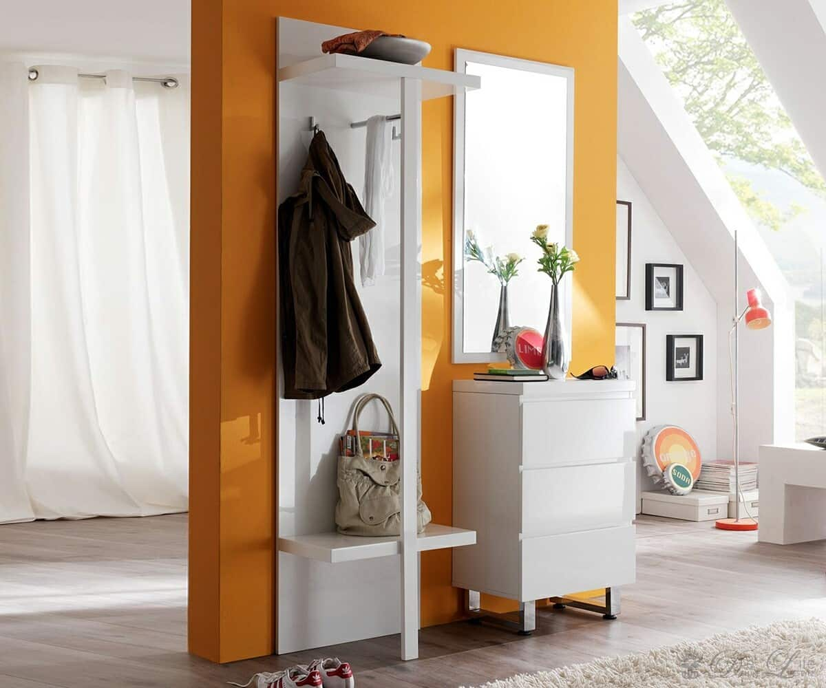 garderobe lucido 170x195cm weiss hochglanz garderobenm bel mit spiegel. Black Bedroom Furniture Sets. Home Design Ideas