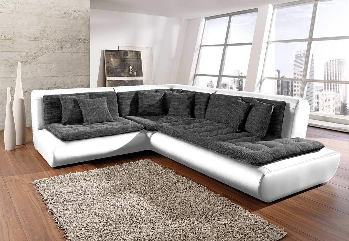 sofa exit 240x300 cm weiss anthrazit eckcouch ottomane rechts ecksofa neu ebay. Black Bedroom Furniture Sets. Home Design Ideas