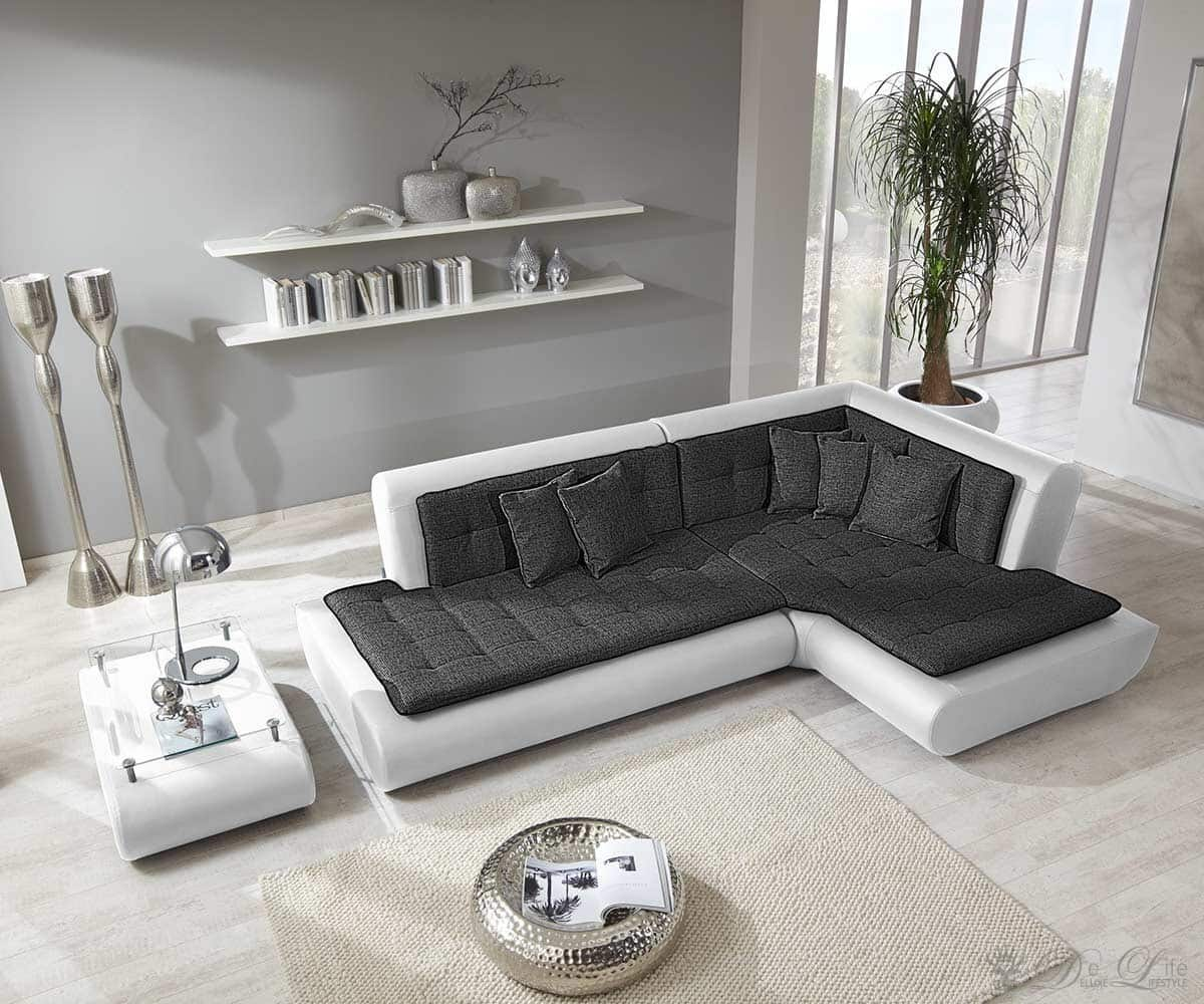 couch exit 300x200 cm weiss anthrazit inkl kissen ebay. Black Bedroom Furniture Sets. Home Design Ideas