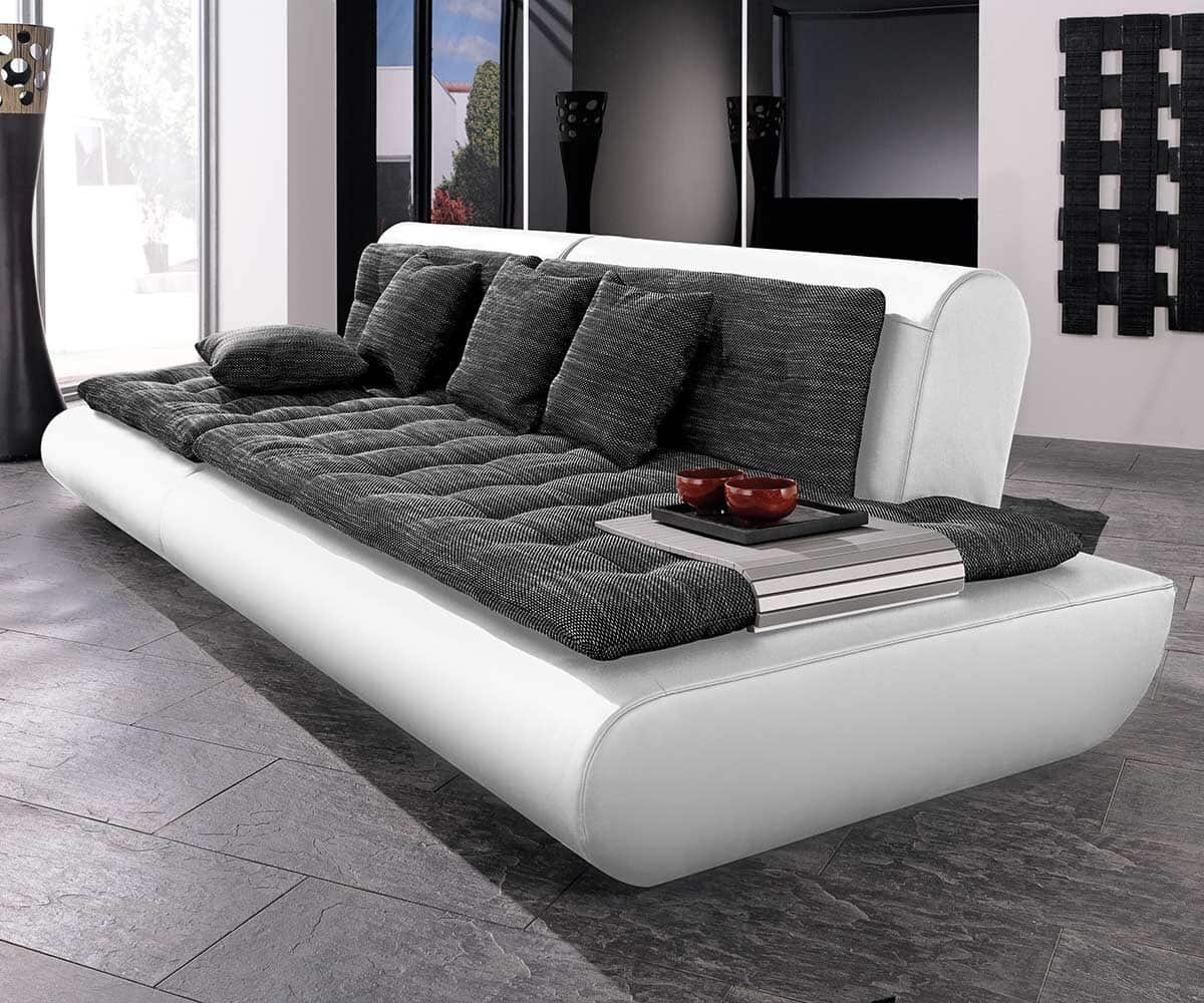 sofa exit 280x125 weiss anthrazit couch inkl 4 kissen. Black Bedroom Furniture Sets. Home Design Ideas