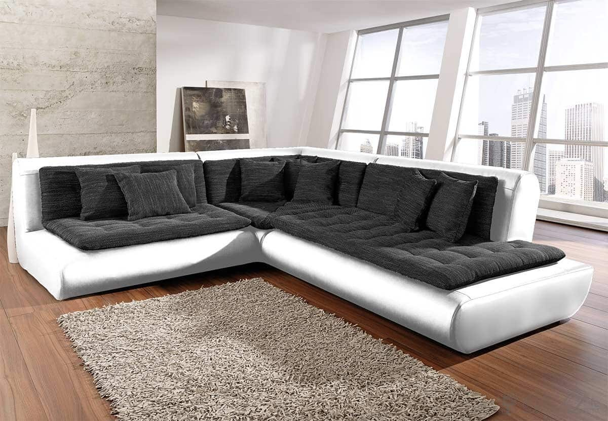 ecksofa exit 300x300 weiss anthrazit ottomane rechts ebay. Black Bedroom Furniture Sets. Home Design Ideas