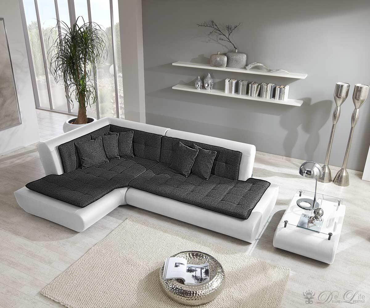 ecksofa exit 300x200 weiss anthrazit mit kissen ebay. Black Bedroom Furniture Sets. Home Design Ideas