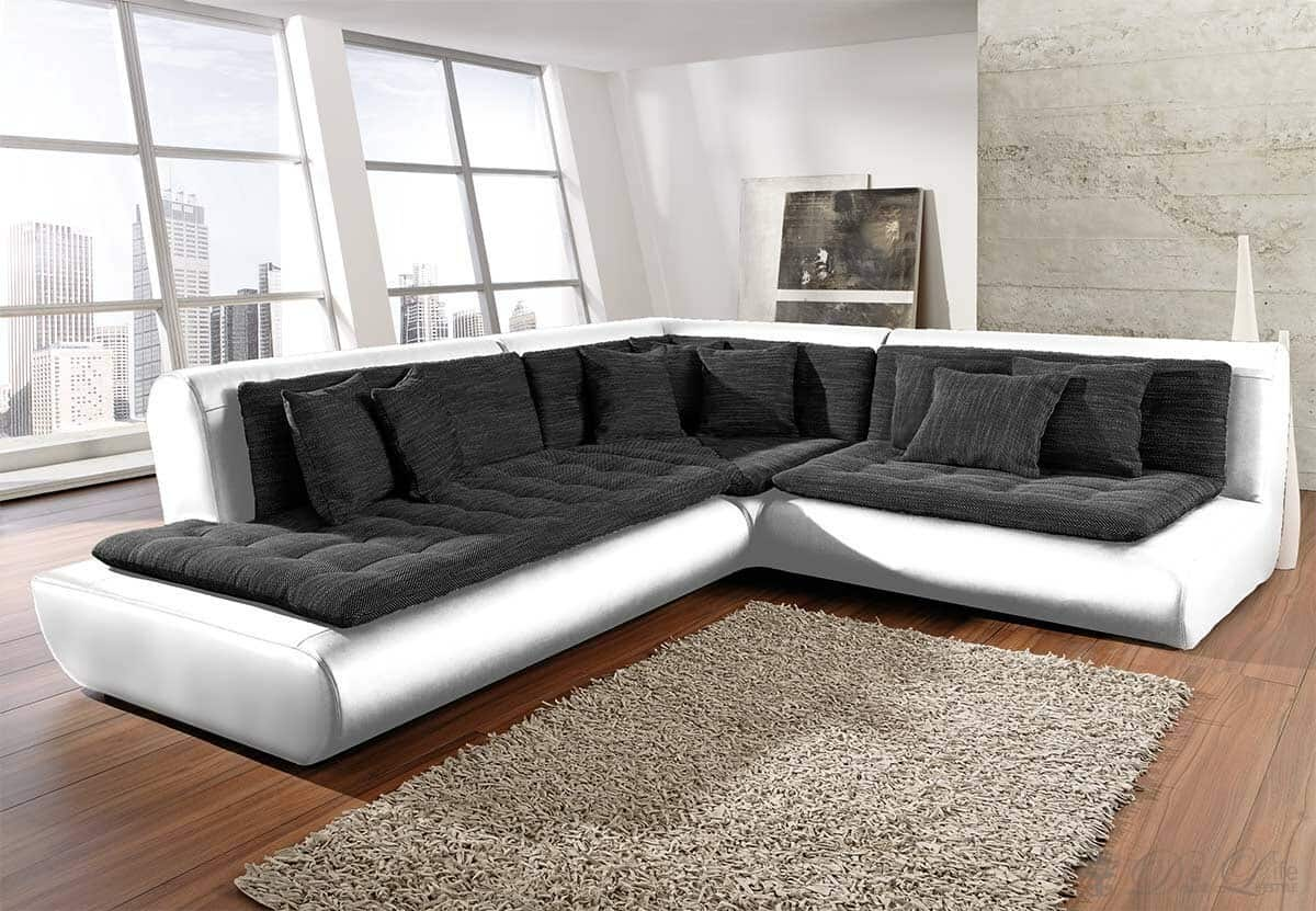ecksofa exit 300x300 weiss anthrazit ottomane links ebay. Black Bedroom Furniture Sets. Home Design Ideas
