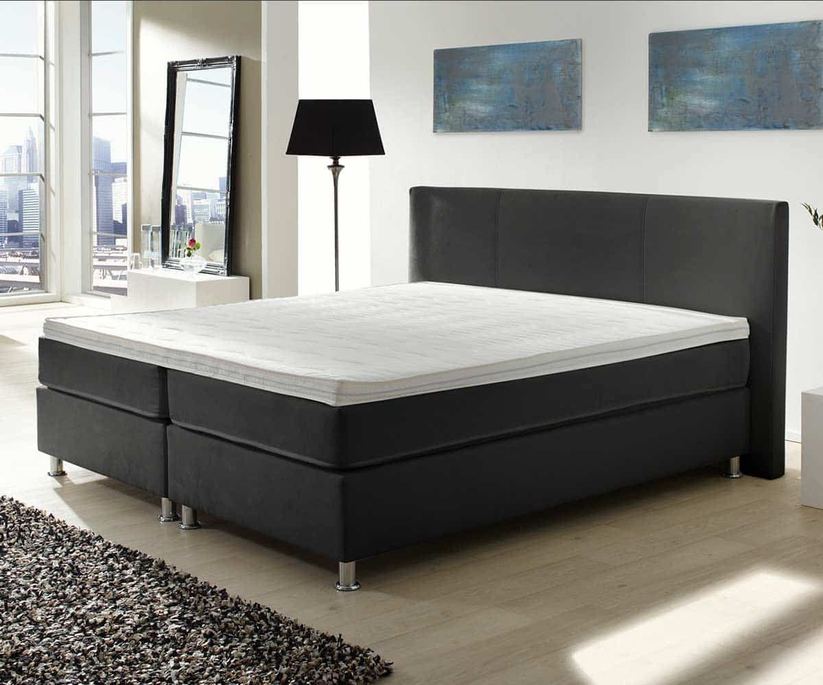 boxspringbett holiday 160x200 cm schwarz bett mit matratze 160 cm boxspring bett. Black Bedroom Furniture Sets. Home Design Ideas