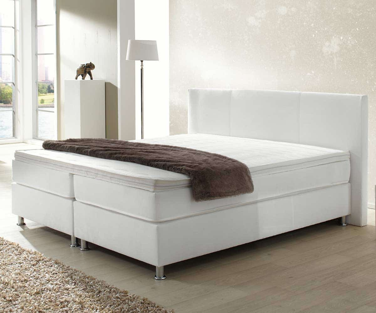 boxspringbett holiday 160x200 cm weiss bett mit matratze 160 cm ebay. Black Bedroom Furniture Sets. Home Design Ideas