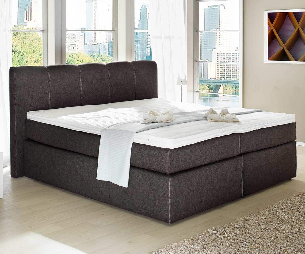 boxspringbett passiona 160x200 dunkelbraun bett mit matratze doppelbett neu ebay. Black Bedroom Furniture Sets. Home Design Ideas