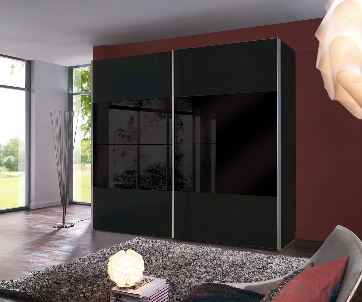 delife kleiderschrank david 250x215cm schwarz glas schwebetuerenschrank 879 b2b trade. Black Bedroom Furniture Sets. Home Design Ideas