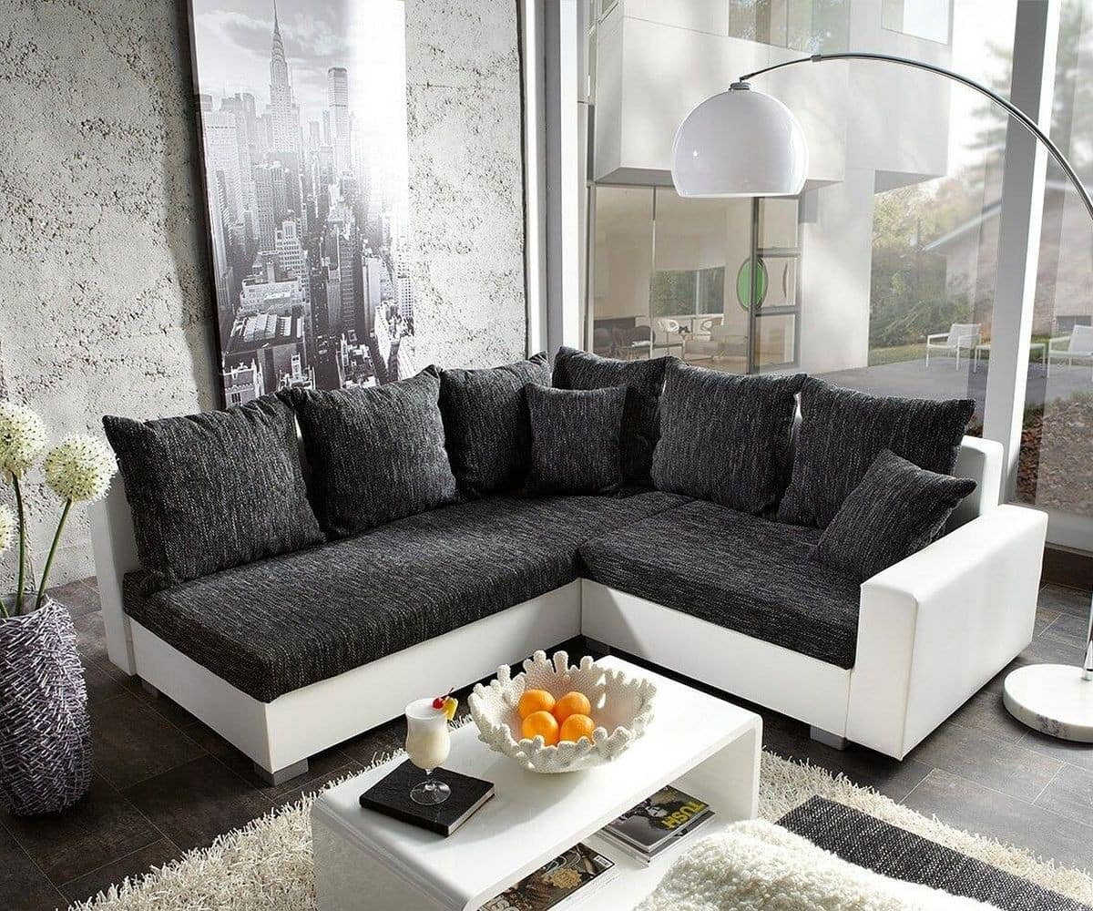 ecksofa lavello 210x210 schwarz weiss ottomane links m bel sofas. Black Bedroom Furniture Sets. Home Design Ideas