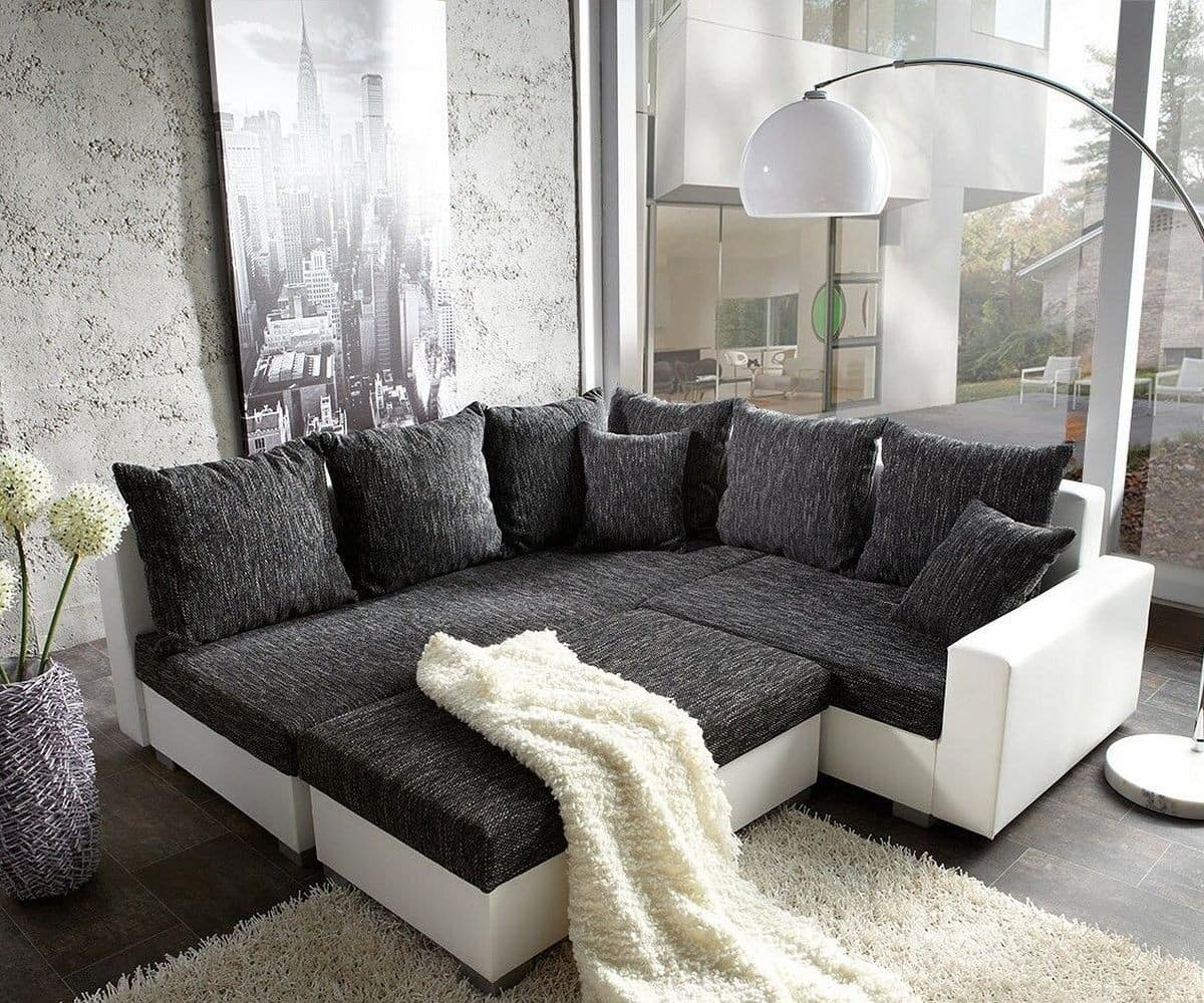 couch lavello 210x210 schwarz weiss ottomane links ecksofa. Black Bedroom Furniture Sets. Home Design Ideas