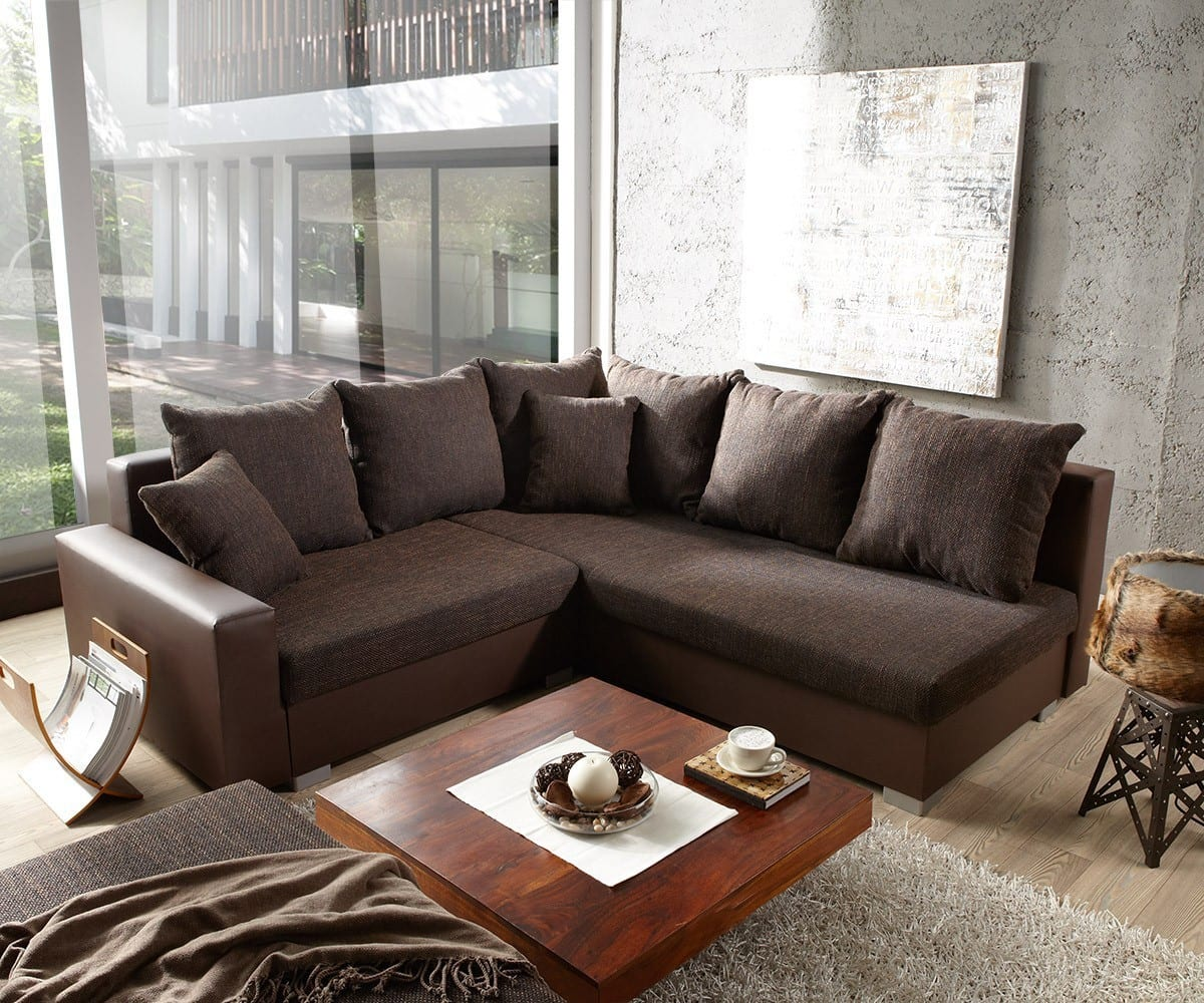 sofa lavello ecksofa dunkelbraun inkl hocker 210x210. Black Bedroom Furniture Sets. Home Design Ideas