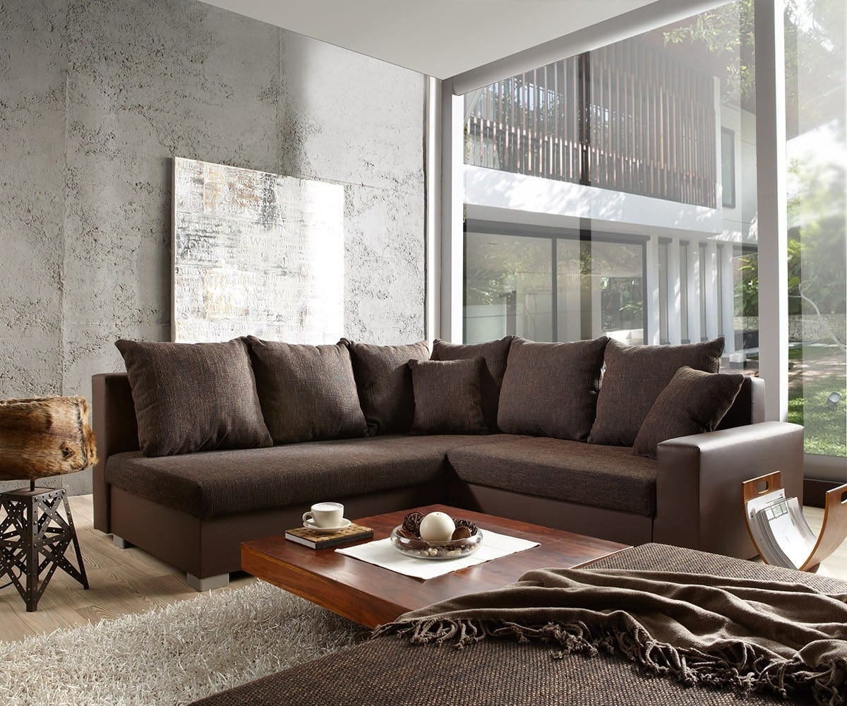 couch lavello 210x210 dunkelbraun ottomane links hocker m bel sofas ecksofas. Black Bedroom Furniture Sets. Home Design Ideas