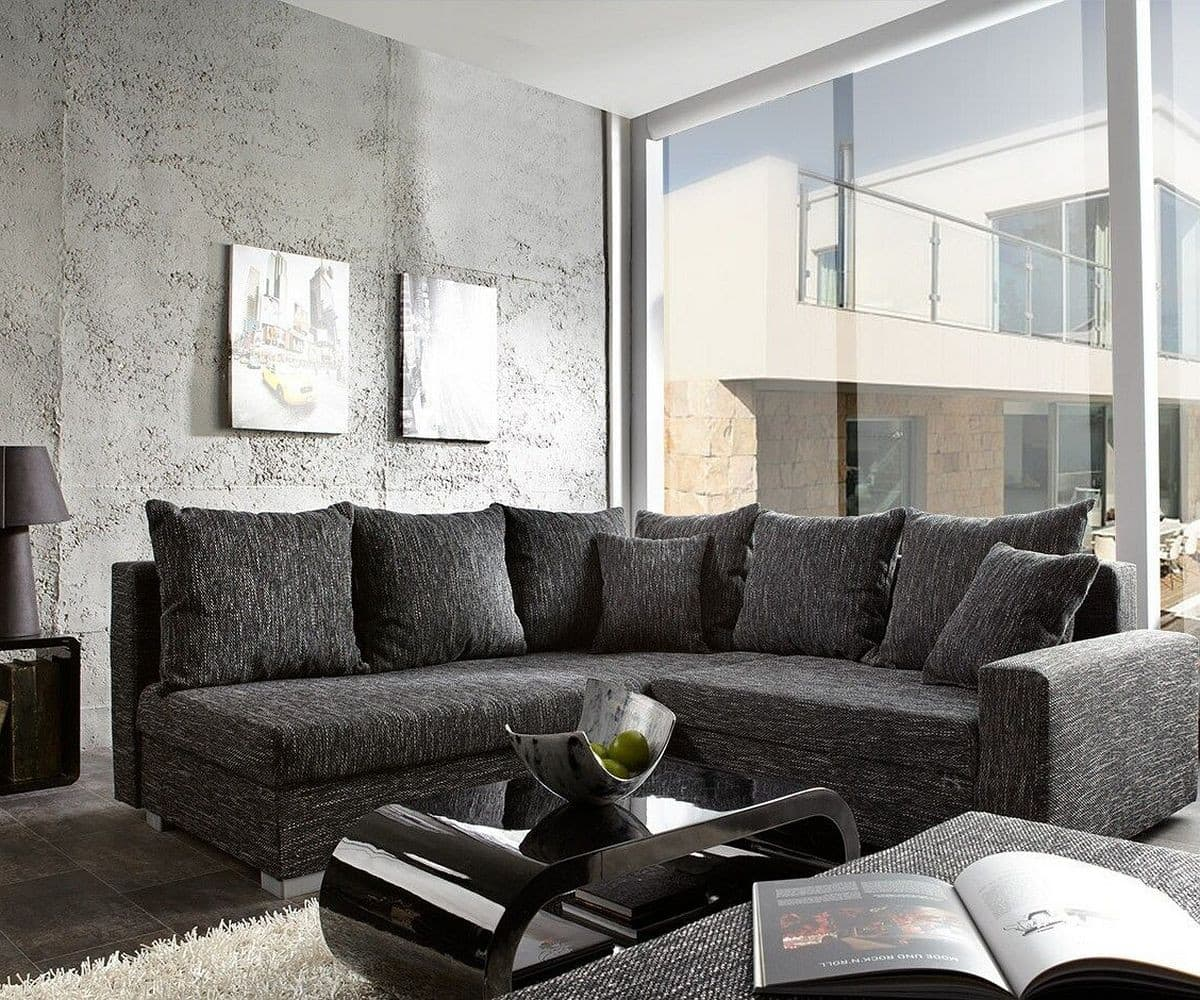 ecksofa lavello 210x210 schwarz sofa mit hocker m bel sofas ecksofas. Black Bedroom Furniture Sets. Home Design Ideas