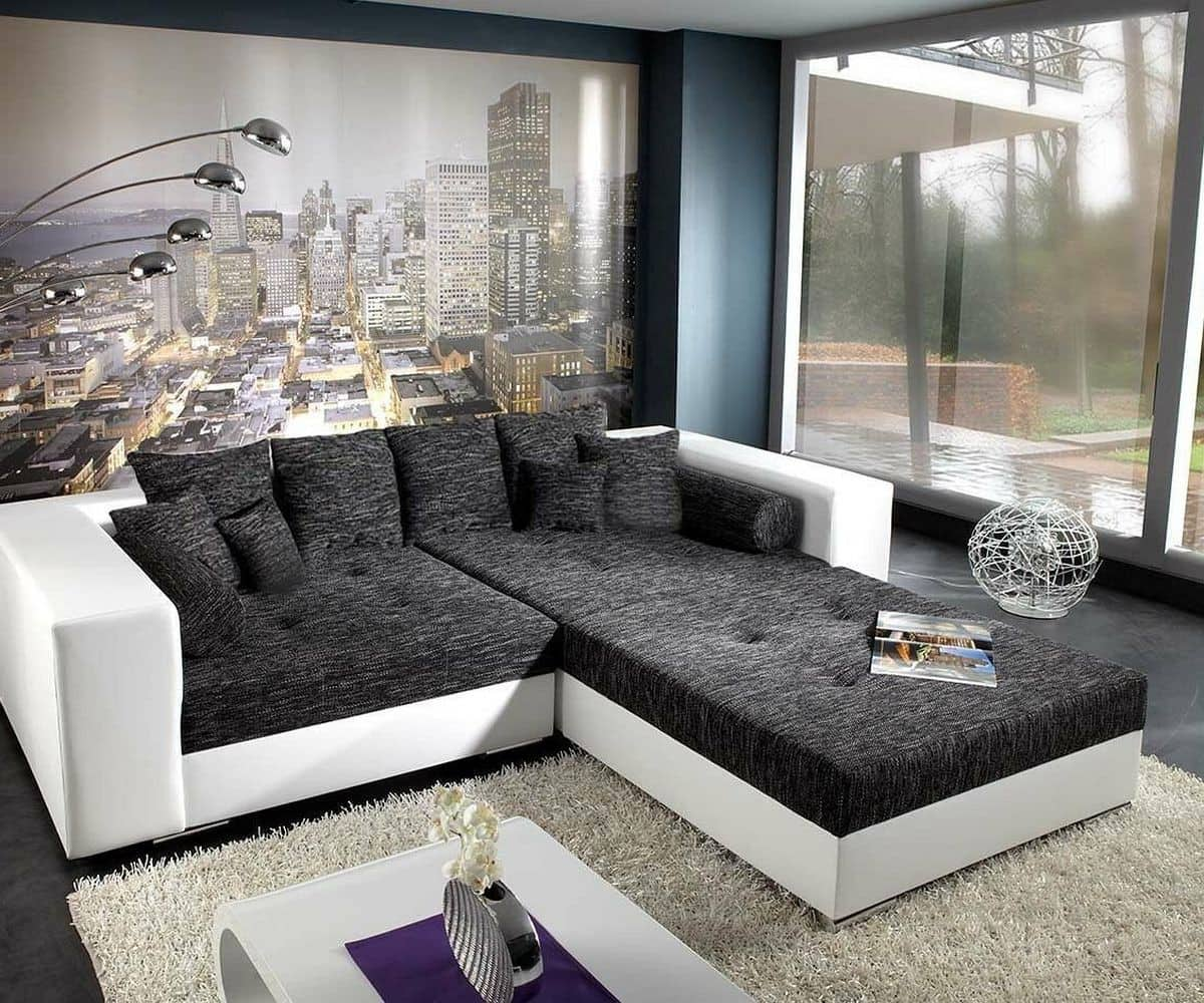 bigsofa marlen 300x140 cm weiss schwarz mit sitzhocker. Black Bedroom Furniture Sets. Home Design Ideas