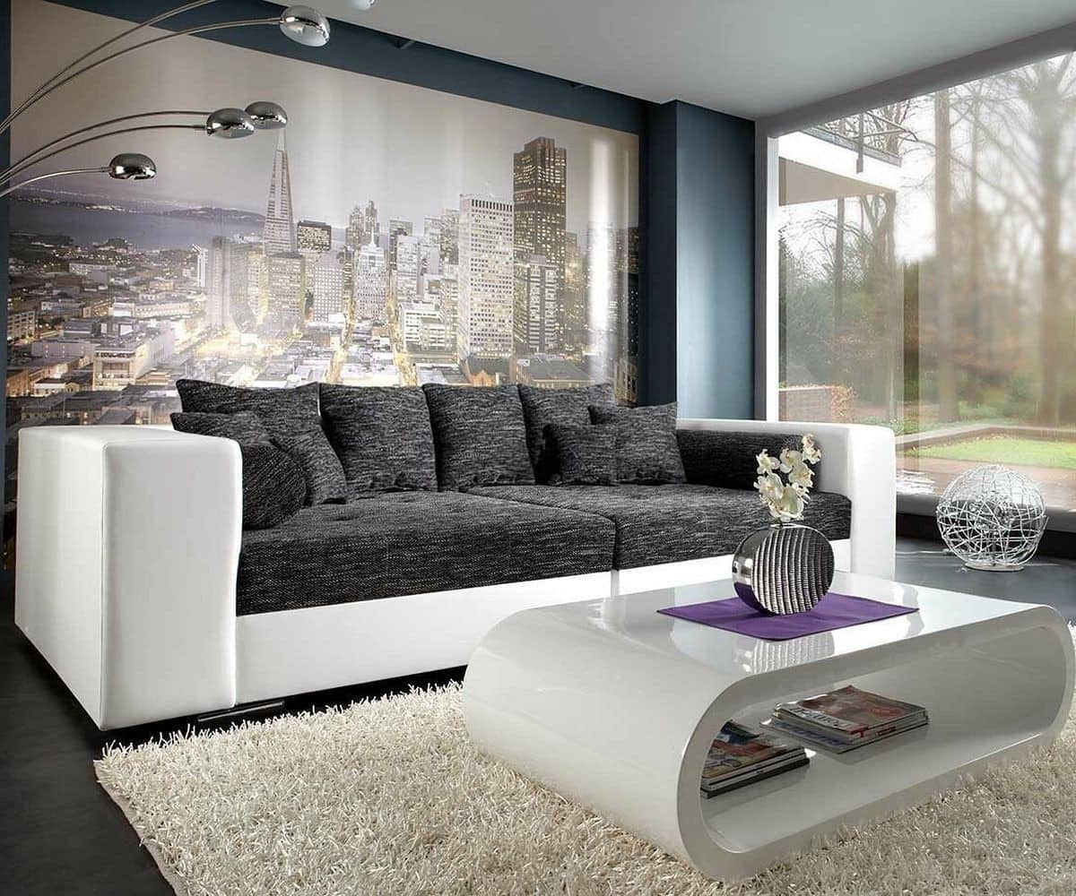 couch marlen schwarz weiss 300x140 inklusive hocker big sofa. Black Bedroom Furniture Sets. Home Design Ideas