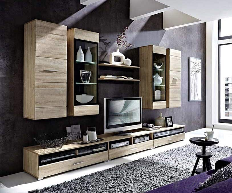 wohnwand lara 300x210 eiche hell furnier inkl beleuchtung ebay. Black Bedroom Furniture Sets. Home Design Ideas