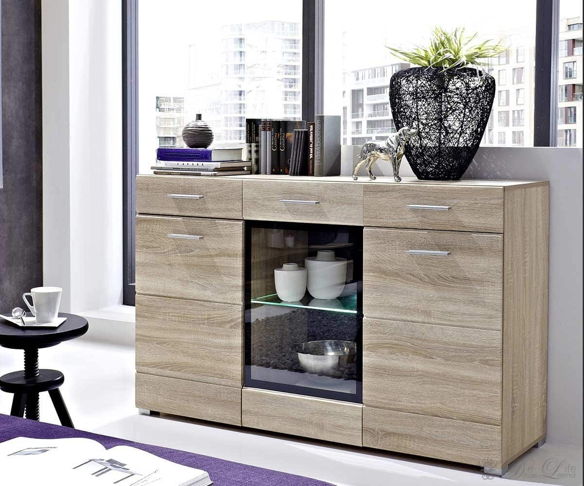 sideboard lara 150x95 eiche hell furnier inkl beleuchtung ebay. Black Bedroom Furniture Sets. Home Design Ideas