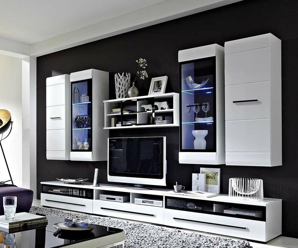 preisvergleich eu wohnwand weiss hochglanz. Black Bedroom Furniture Sets. Home Design Ideas