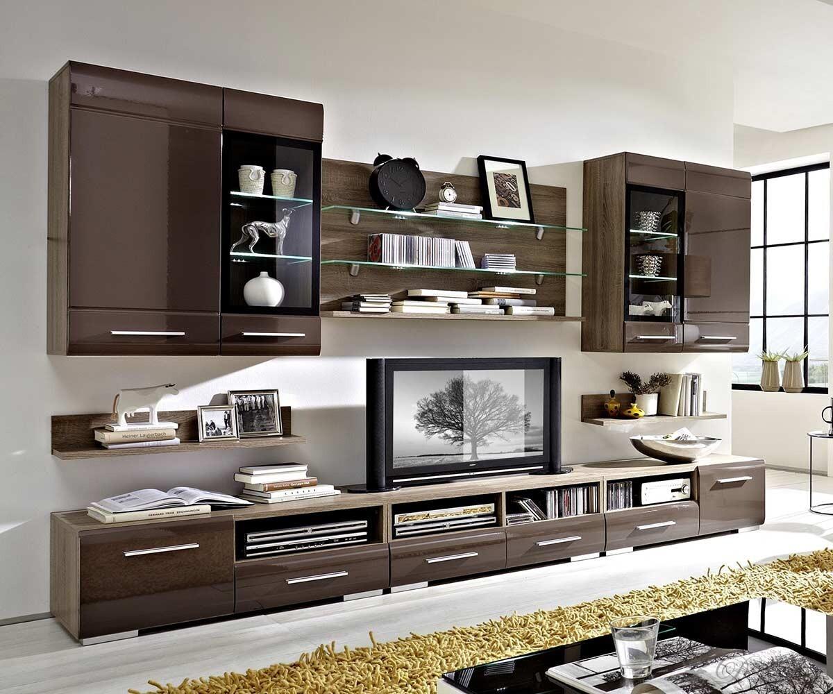 wohnwand torrido 300x200 eiche sonoma s gerau inkl beleuchtung ebay. Black Bedroom Furniture Sets. Home Design Ideas