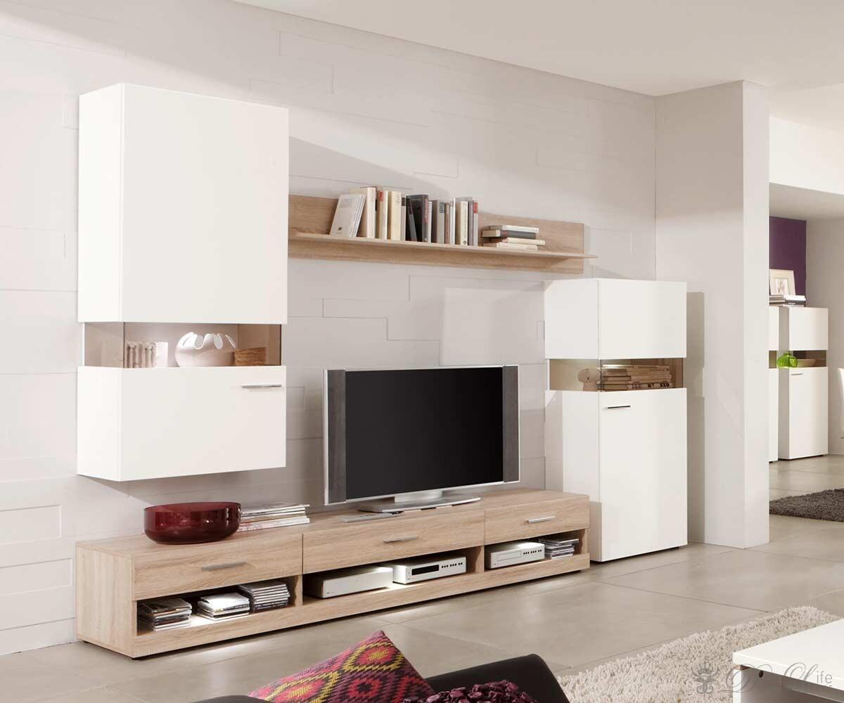 wohnwand eiche weis die neuesten innenarchitekturideen. Black Bedroom Furniture Sets. Home Design Ideas