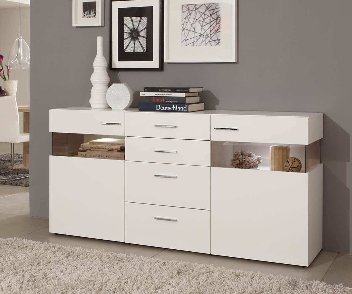 sideboard arizona 180x90 cm weiss kommode inkl beleuchtung anrichte neu ebay. Black Bedroom Furniture Sets. Home Design Ideas
