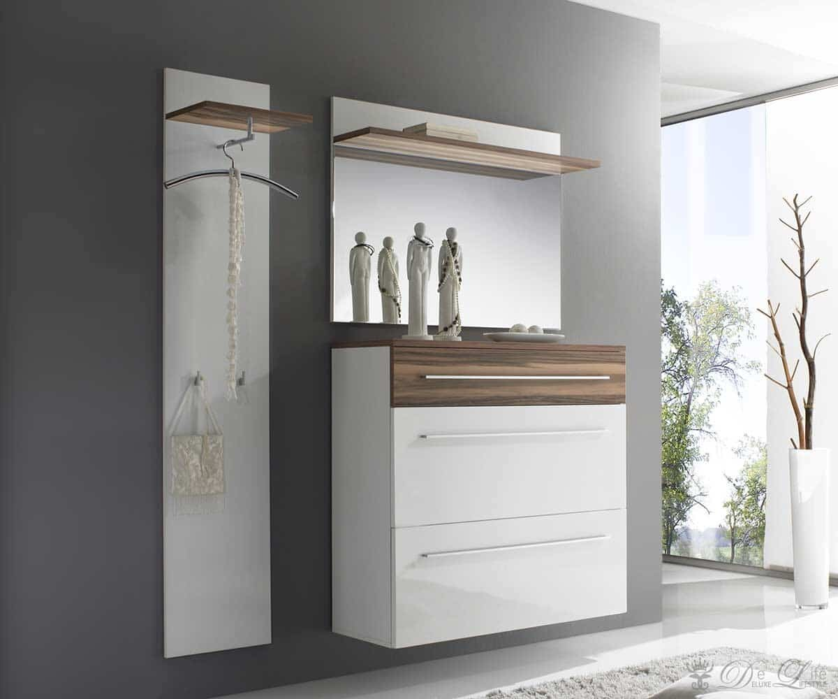 garderobe finja 135x180 weiss hochglanz walnuss schuhschrank spiegel neu ebay. Black Bedroom Furniture Sets. Home Design Ideas