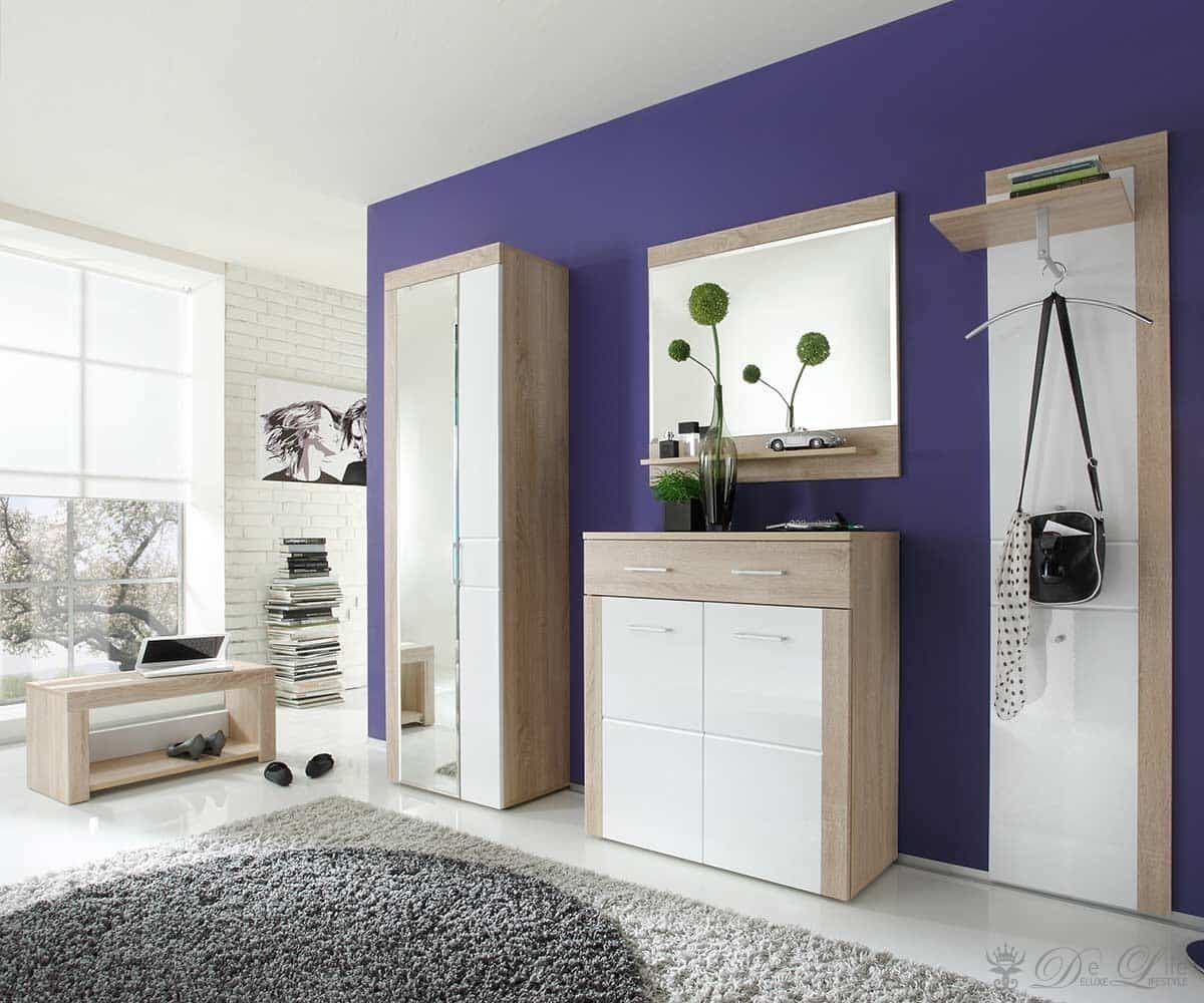 garderobe melbourne 200x200 cm eiche hell weiss hochglanz schrank ebay. Black Bedroom Furniture Sets. Home Design Ideas