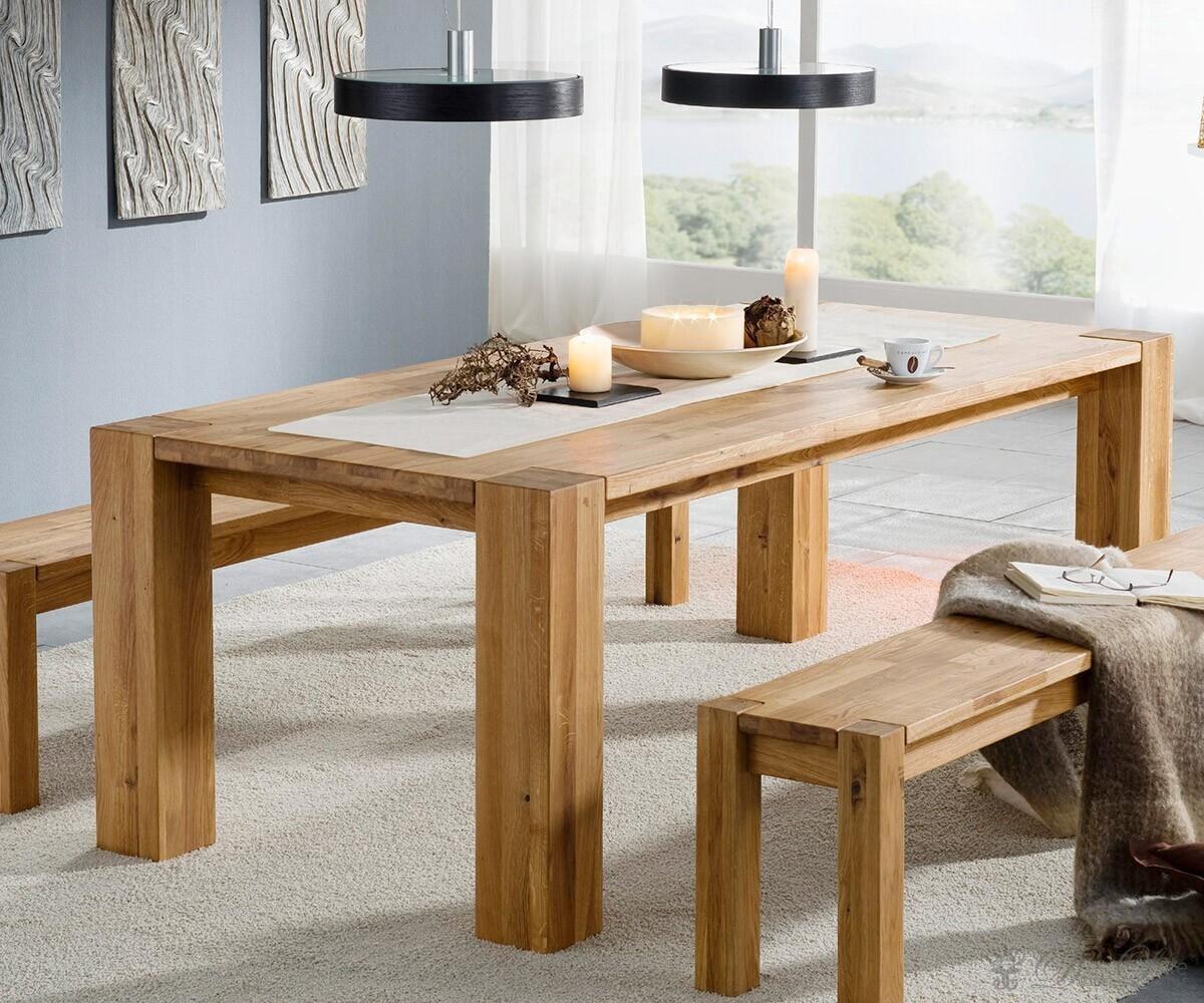 Tisch Mattis 140x90 Eiche massiv geölt Esstisch Holztisch ...